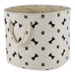 Black Paw Bone Polyester Round Medium Pet Storage Bin - 1