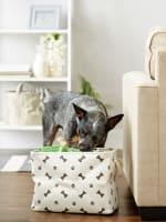 Dark Brown Paw Bone Polyester Rectangle Medium Pet Storage Bin - 8