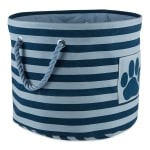 Dark Navy Round Small Bone Dry Stripe With Paw Patch Black Pet Storage Bin - 2
