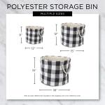 Dark Navy Round Small Bone Dry Stripe With Paw Patch Black Pet Storage Bin - 6