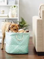 Aqua Lattice Paw Polyester Round Large Pet Storage Bin - 8