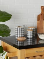 Gray & White Buffalo Check Ceramic Set of 3 Canister - 7