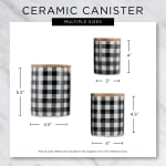 Gray & White Buffalo Check Ceramic Set of 3 Canister - 9