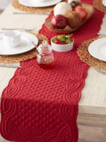 Cranberry Quilted Farmhouse Table Runner - 9