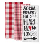Social Distance Makes The Heart Grow Fonder 3 Piece Dishtowel - 3