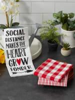 Social Distance Makes The Heart Grow Fonder 3 Piece Dishtowel - 9