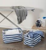 Nautical Blue Laundry Storage Bin, Large Set of 2 - 1