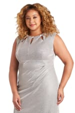 Rhinestone Accent Pleated Short Dress - Plus - 1