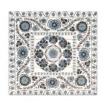 Blue Suzani Planked Wood Pattern Art Print - 3