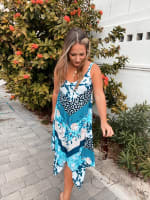 Floral Knit Pointed Hem Dress - 1