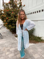 Crocheted White Button Front Cardigan - 2