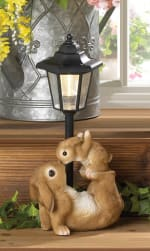 Adorable Mom And Baby Rabbit Solar Lamp - 1