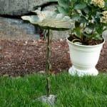 Verdigris Leaf Birdbath - 3