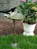 Verdigris Leaf Birdbath - 2