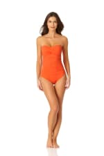 Anne Cole Twist Front Shirred One Piece - 4