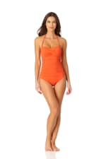 Anne Cole Twist Front Shirred One Piece - 6