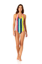 Anne Cole Shirred Front Halter One Piece - 1