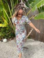 Floral Midi Puff Sleeve Dress - 7