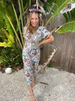Floral Midi Puff Sleeve Dress - 1