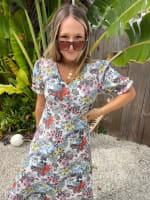 Floral Midi Puff Sleeve Dress - 3