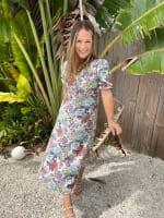 Floral Midi Puff Sleeve Dress - 6