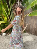 Floral Midi Puff Sleeve Dress - 2