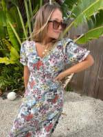 Floral Midi Puff Sleeve Dress - 4