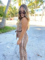 Abstract Striped Jumpsuit With Waist Tie - 1