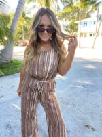 Abstract Striped Jumpsuit With Waist Tie - 4