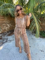 Abstract Striped Jumpsuit With Waist Tie - 3
