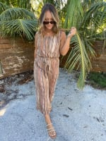 Abstract Striped Jumpsuit With Waist Tie - 5