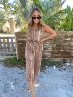 Abstract Striped Jumpsuit With Waist Tie - 6