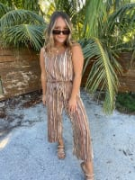 Abstract Striped Jumpsuit With Waist Tie - 2