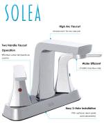 Safavieh Excel Chrome Brass 4 Inch Centerset Dual Handle Bathroom Faucet - 3