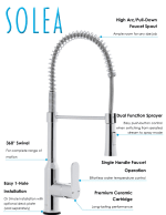 Safavieh Euphoria Chrome Brass Single Control Dual Function Spray Pull Down Kitchen Faucet - 4