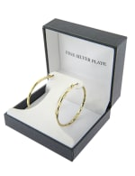 Boxed gold over fine silver plated 40mm diamond cut hoops - 1