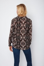 Dora Landa Printed Silk Shirt Collar Jones Top - 2