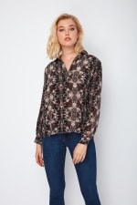 Dora Landa Printed Silk Shirt Collar Jones Top - 1