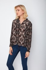 Dora Landa Printed Silk Shirt Collar Jones Top - 3