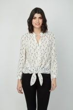 Dora Landa Printed Key Silk Malone Top - 3