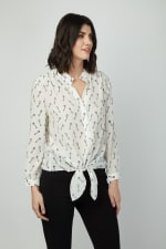 Dora Landa Printed Key Silk Malone Top - 1
