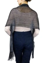 Metallic Dressy Shawl With Fringe - 1