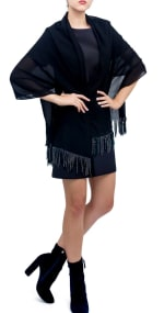 Solid Shawl with Studded Fringes - 1