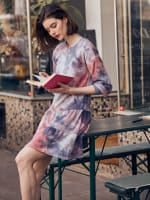 Tie Dye Tiered Sweatshirt Dress - Plus - 4