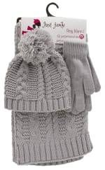 3 Pieces Solid Jersey Cable Knit Hat, Glove, Scarf Set - 1