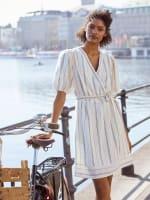 Erin Surplus Blouson Sleeve Striped A-Line Dress - 1