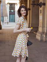 Audrey Drop Shoulder Jewel Neck Elastic Waist Ruffle Dress - 4