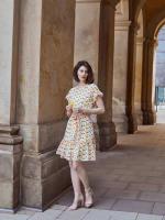 Audrey Drop Shoulder Jewel Neck Elastic Waist Ruffle Dress - 6
