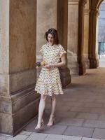 Audrey Drop Shoulder Jewel Neck Elastic Waist Ruffle Dress - 9