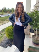 Black Maxi Skirt With Foldover Waistband - 2
